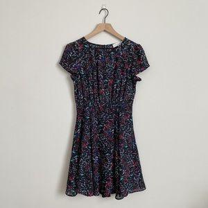 Wayf Black White Floral Open Back Mini Dress